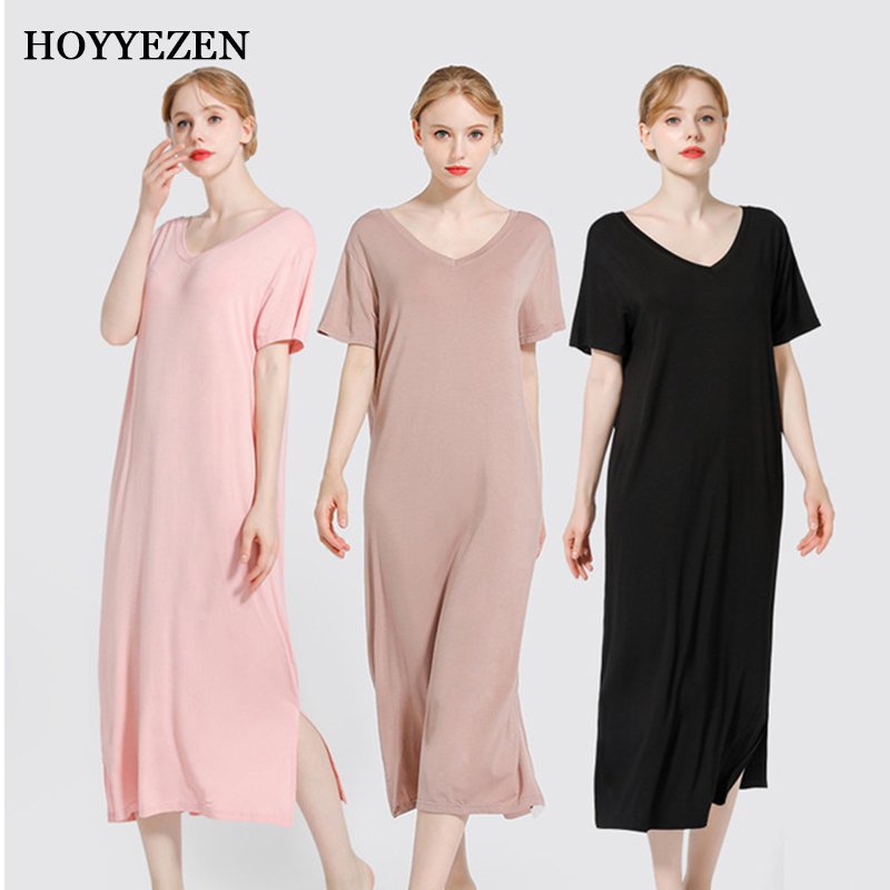 Long V neck modal nightdress summer thin short sleeved women 39 s large size was thin and simple sleepwear in Nightgowns amp Sleepshirts from Underwear amp Sleepwears