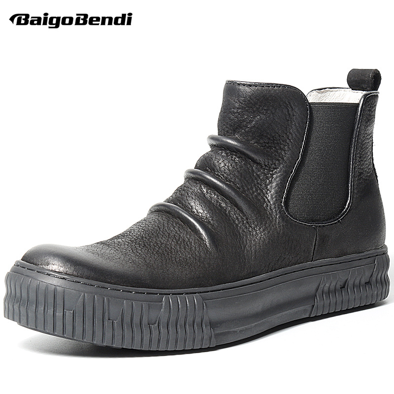 Top !!Retro Mens Genuine Leather Wrinkle Boots Fashion Winter Slip On Ankle Boots Business Man Casual Oxfords
