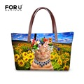 Brand Design Women Handbags Cute Cat Printing Animal Lady Shoulder Bag Flower Large Capacity Shopping Bag Handbag Bolsa Feminina
