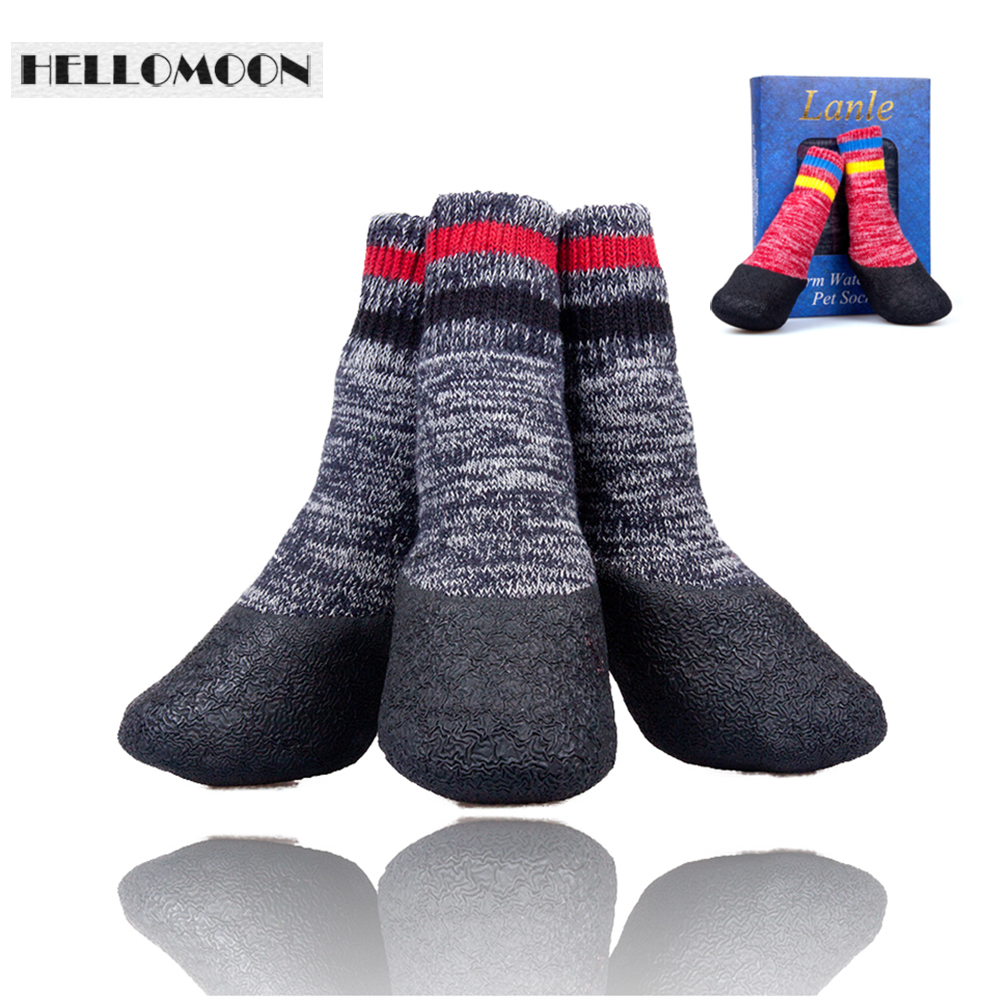 Hellomoon Pet Supplies im Freien wasserdichte weiche Baumwolle Pet Fashion Anti-Slip Hund Socken