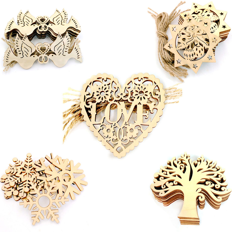 10Pcs Cute Wood Snowflake Xmas Wedding Tree Hanging Ornament Decoration