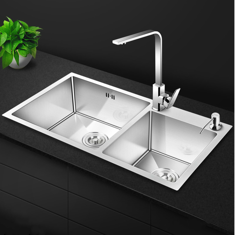 Kitchen Sinks Stainless Steel Hand-thickened 4mm Double Bowl with Tap Above Counter Sink Vegetable Washing tank mx4091106Kitchen Sinks Stainless Steel Hand-thickened 4mm Double Bowl with Tap Above Counter Sink Vegetable Washing tank mx4091106