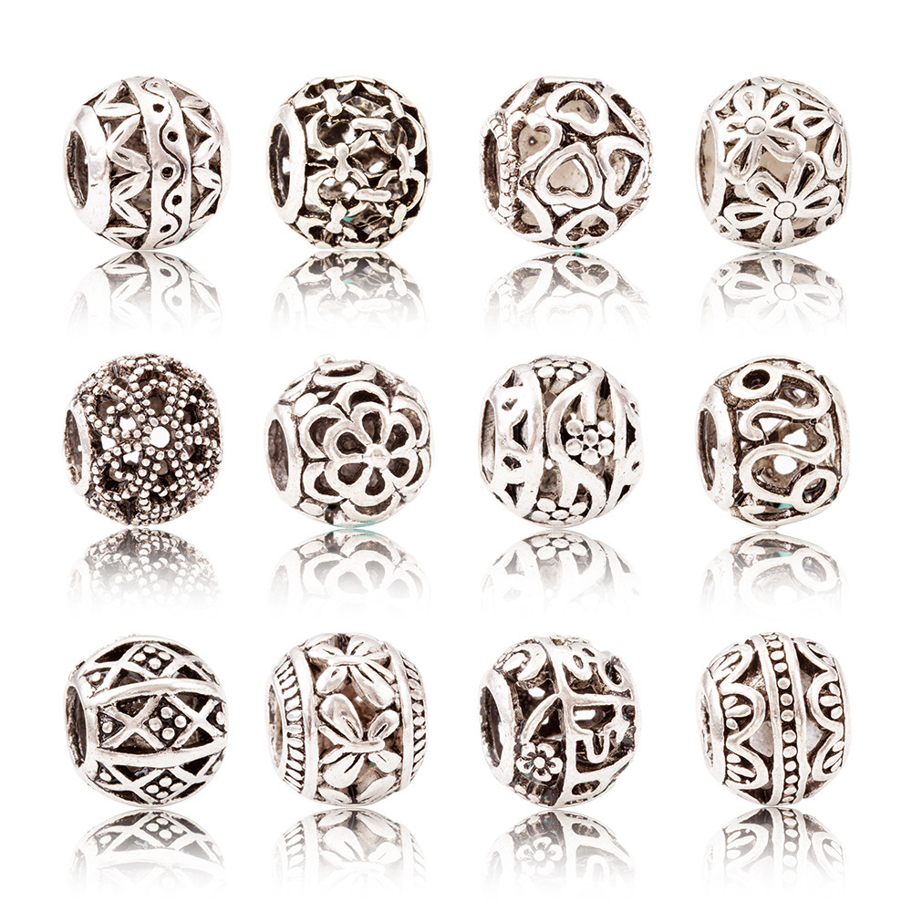20Pcs 5mm Retro Silver Round Hole Spacer Beads European Vintage Big Hole Beads Charms Bracelet Hand DIY Jewelry Making Accessory