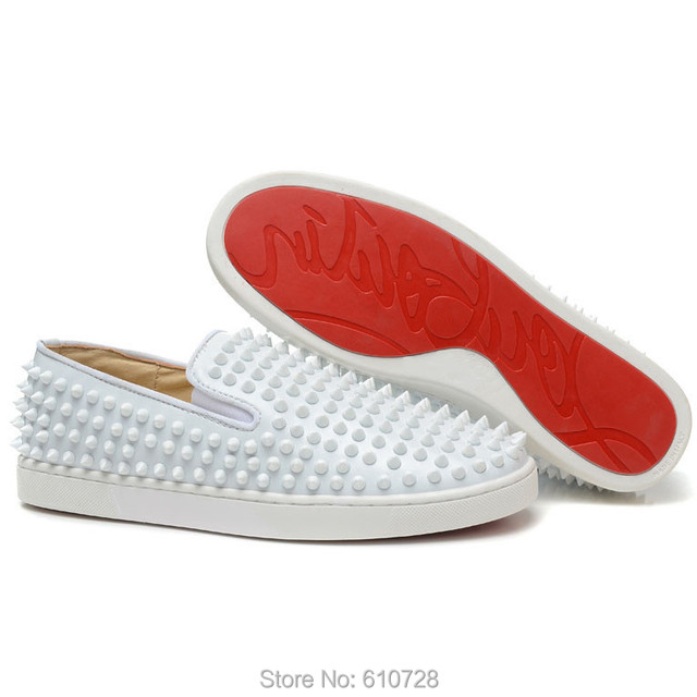 e9dfd88c09a Free Shipping Best Quality Red Bottom Shoes Luxury Roller Boat White Spikes  Leather Mens Flat Sneakers