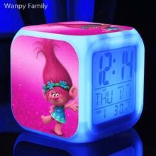 3 d animation film Trolls digital alarm clocks,Trolls Figures Bobby princess Figures Doll Toys alarm clocks
