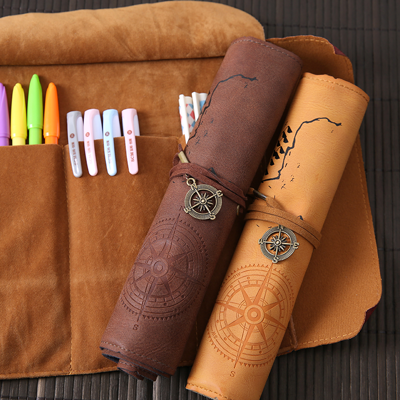 PU Leather Pencil Bag Classical Korea Stationery Pen Case Vintage Treasure Map Compass Pattern Office Supplies Xmas Gift Retro
