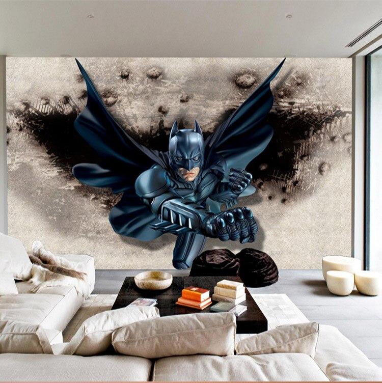 Superhero Wall Murals aliexpress : buy 3d batman wall mural custom large photo