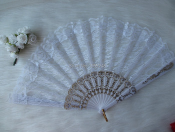24pcs/lot Fashion White Color Chinese Folding Lace Dancing Fans Hand Fans Party Gifts Wedding Favors