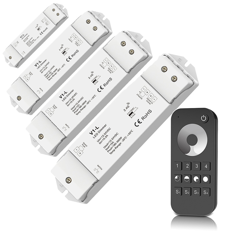 New <font><b>Led</b></font> <font><b>Dimmer</b></font> Controller RF Wireless <font><b>remote</b></font> 4 zones DC12-24V 15A 360W Constant Voltage Receiver V1-L 5050 3528 <font><b>Strip</b></font> Dimming image