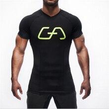 Марка Золотые GymsharkT-Рубашка Бодибилдинг Одежда Сжатия Рубашка Мужчины Crossfit Фитнес Вздох Майка Плюс Размер