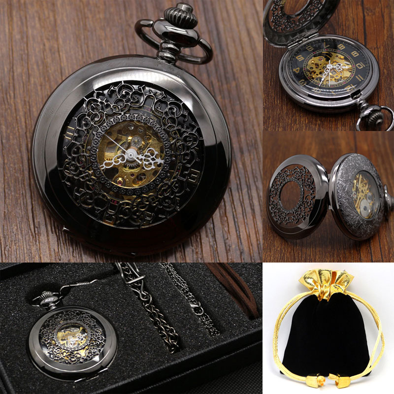 Steampunk Retro Black Hollow Flower Design Mechanical Pocket Watch Hand Winding Analog Vintage Clock Best Birthday Gift Set