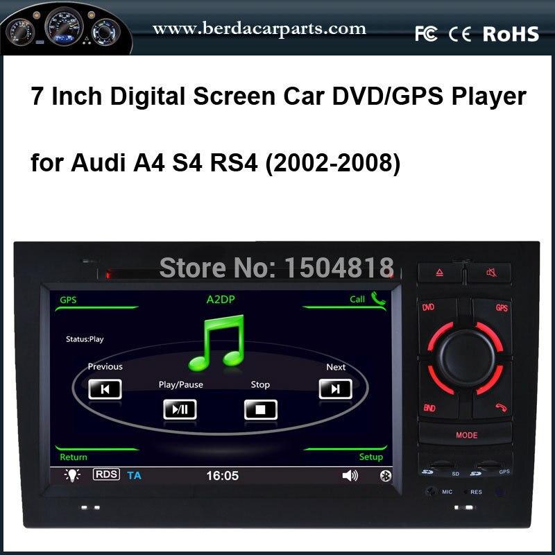 Lecteur DVD de voiture à écran tactile pour Audi A4, S4, RS4 avec entrée audio IPod/IPhone 4/4 S, GPS intégré