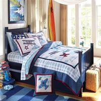 Домашний текстиль 5 шт Синий тканный набор постельных принадлежностей самолет дизайн 100% хлопок стеганое покрывало набор постельного белья ...