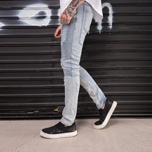 Fashion 2019 spring autumn Casual hip hop streetwear skinny stretch Distressed Pleated Fold patchwork vintage pencil jeans men