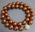 FREE SHIPPINGPretty 12mm Chocolate Brown Shell Pearl 18KGP Crystal Ball Clasp Necklace