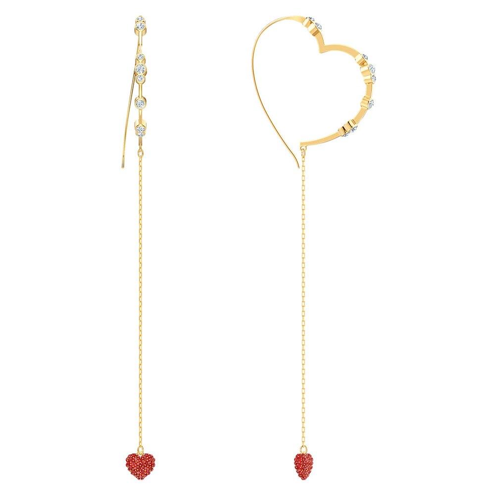 SWA RO 2019 Original OXO Pierced Earrings Shiny Red Crystal Heart Charm Fashion Women Anniversary Souvenir Popular JewelrSWA RO 2019 Original OXO Pierced Earrings Shiny Red Crystal Heart Charm Fashion Women Anniversary Souvenir Popular Jewelr