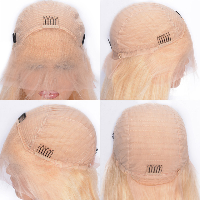 Silky Straight 613 Blonde Lace Front Human Hair Wigs 180% Density Brazilian Lace Front Remy Hair Wig Pre Plucked Favor Hair 8-24 4