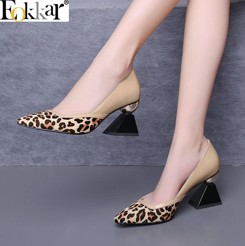 Eokkar 2019 クローズド足ヒョウの女性のハイヒール小剣パンプス奇妙なヒールで合成女性の靴のサイズ 34 39  グループ上の 靴 からの レディースパンプス の中 1