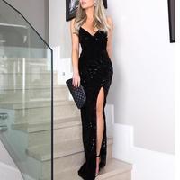 Women Elegant Sexy V Neck Black Long Maxi Dresses Vestido Spaghetti Strap Sleeveless Thigh Slit Sequin Party Dress