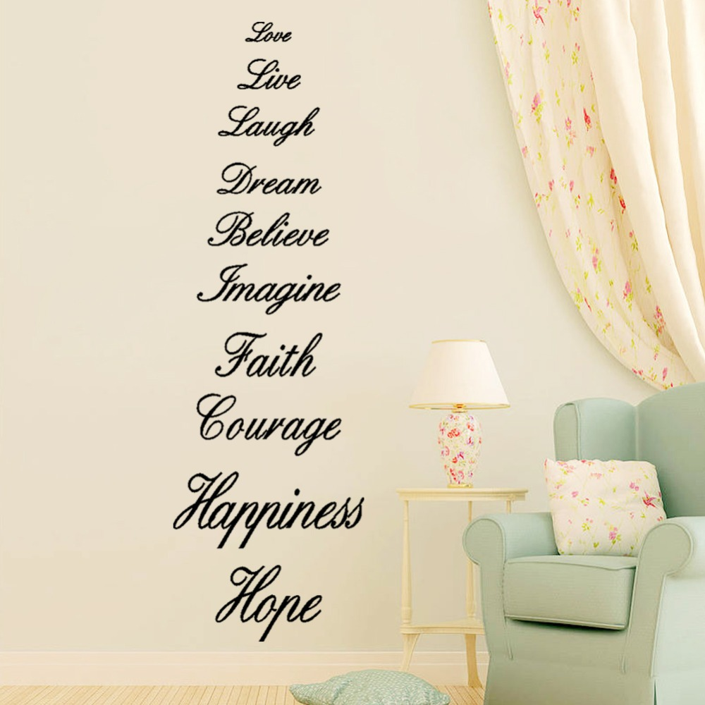 Love live laugh dream believe imagine faith courage happiness hope love live laugh dream believe imagine faith courage happiness hope english proverb wall quote decal sticker words wall decor in wall stickers from home buycottarizona