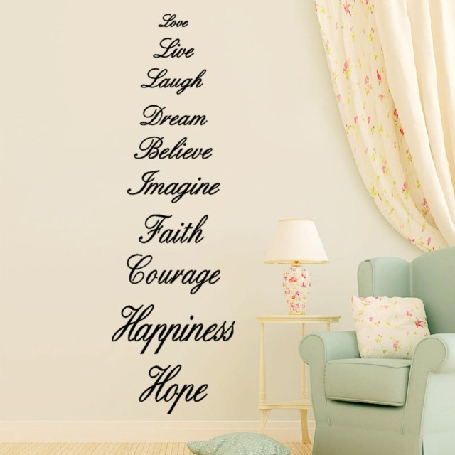 Love Live Laugh Dream Believe Imagine Faith Courage Hiness Hope English Proverb Wall Quote Decal Sticker