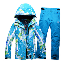 2016 Woman's Suit Waterproof Windproof Ski Jacket+Pants Warm Ski Jacket Thicken Clothes Pants Set Solid Snowboard Jacket