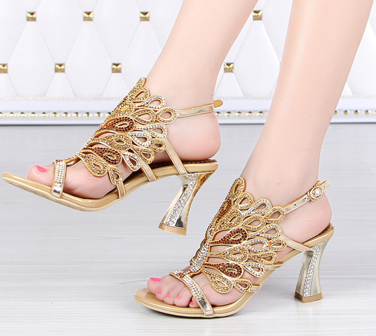 4131235413 De Zapatos Verano Sandalias Baile Noche Atractivos gold Blue 8cm Partido 3  Grueso Tacones Del Oro ...