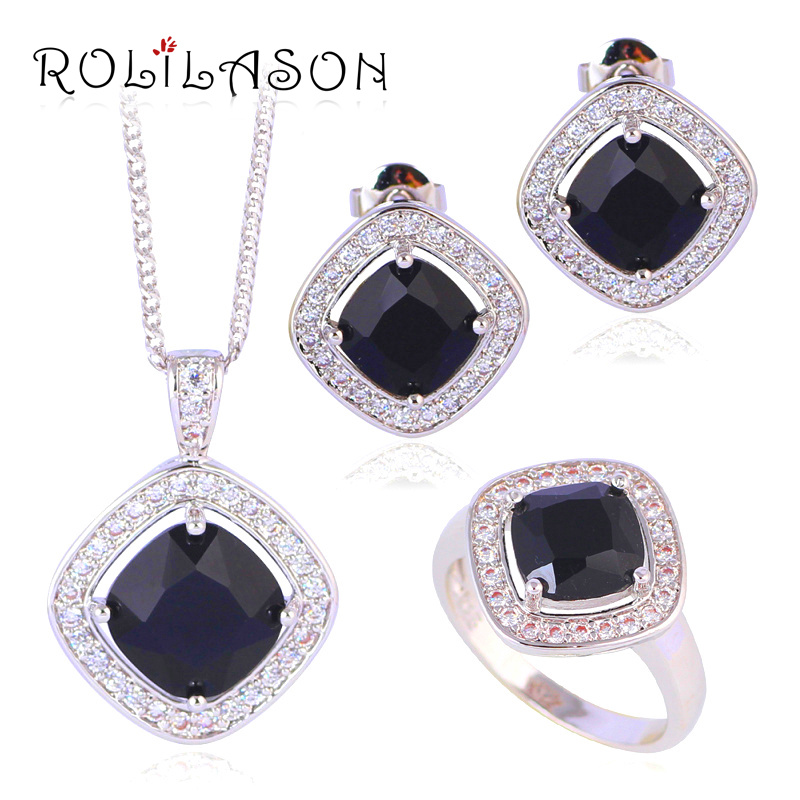 For women Silver filled Earring Necklace Fashion Jewelry Sets Ring Black Onxy Crystal zirconia JS635