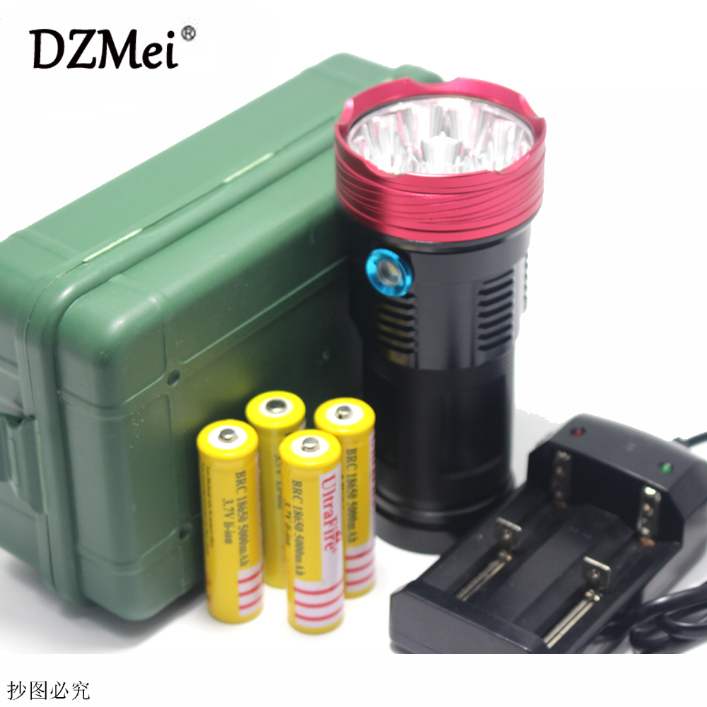 цена на 20000 lumens 10T6 LED flashlamp 10 x CREE XM-L T6 LED Flashlight Torch Lamp Light/4*18650 5000mAh battery /charger/box