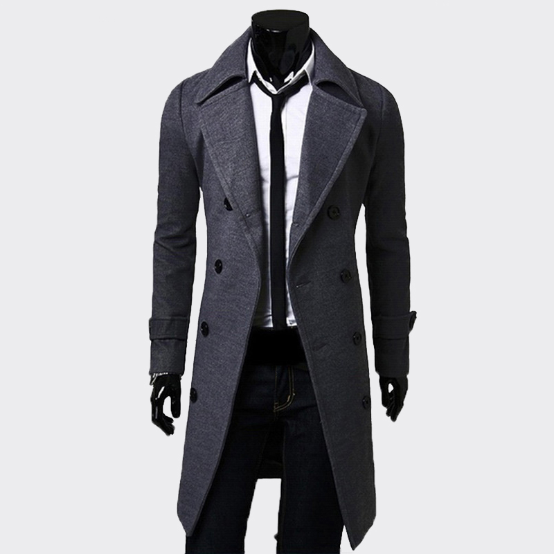 XingDeng Fashion Men Long black Double-breasted Windproof jacket Mens   Trench   Coat Slim   Trench   Coat Plus Size top blazer clothes