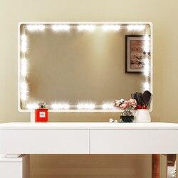Diy hollywood estilo conduziu a luz do espelho com toque dimmer e fonte de alimentação maquiagem espelho vaidade luz led para penteadeira