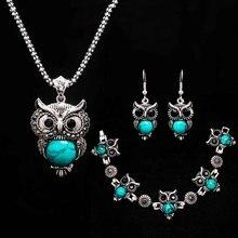 Камень ожерелье набор Сова браслет& серьги; ожерелье ювелирные изделия для женщин кулон длинная цепь ожерелье-в кулон ожерелья в подарок