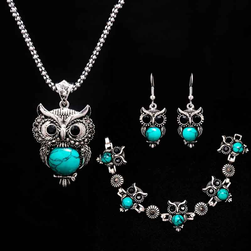 Stone Necklace set Owl bracelet&earrings; Necklace