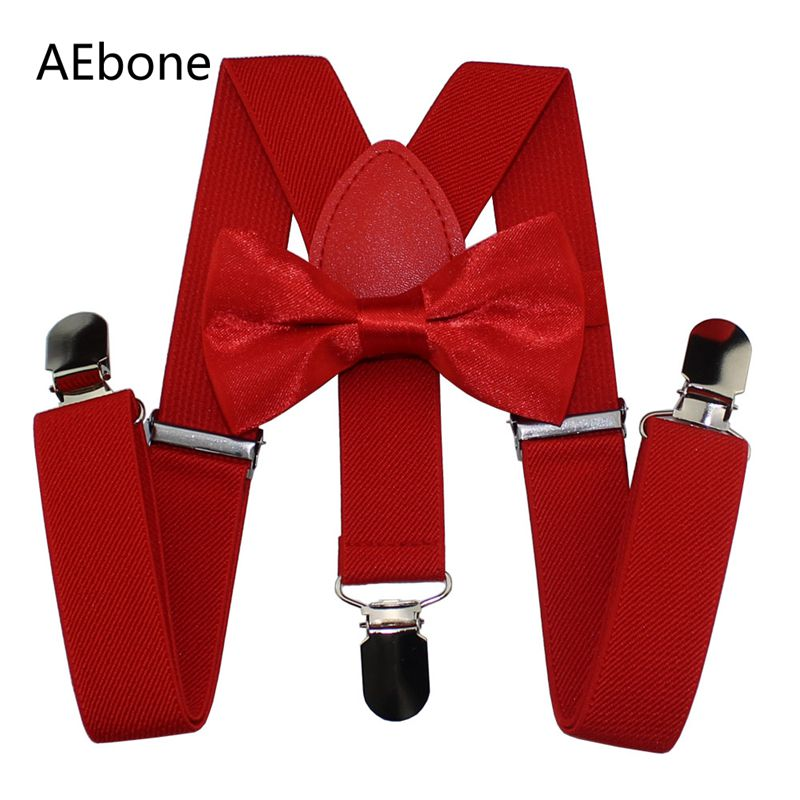 AEbone Boys Bow Tie And Suspenders Kids Red Suspender Bow Tie Sets Girls Baby Braces Bowtie Bretels Kinderen Wedding Party Sus66