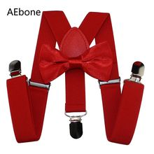 AEbone Boys Bow Tie and Suspenders Kids Red Suspender Sets Girls Baby Braces Bowtie Bretels Kinderen Wedding Party Sus66