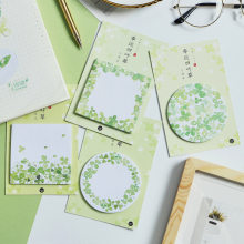 4pcs Lucky clover sticky note set Four leaf wish Green color memo pad stickers scrapbook Stationery Office School supplies F412 недорого