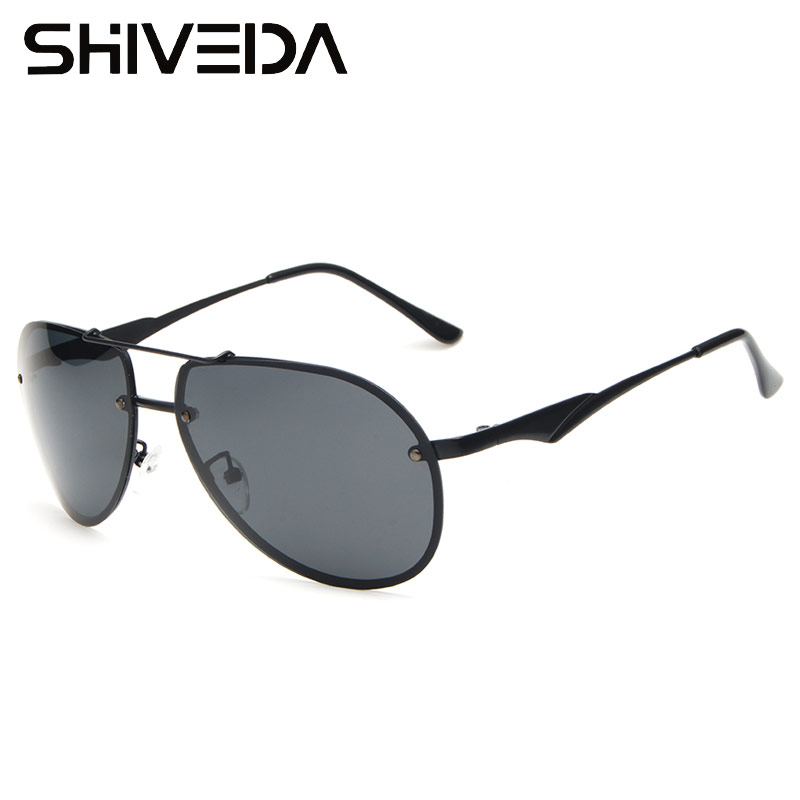 mens black aviator sunglasses upzm  SHIVEDA Rimless Aviator Sunglasses Men Polarized Tinted Coating Glasses  Classic Cool Pilot Driving Sunwear 2016 New