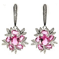 Fashion Jewelry Pink Tourmaline, White CZ Created SheCrown Ladies Wedding   Silver Earrings 42x22mm