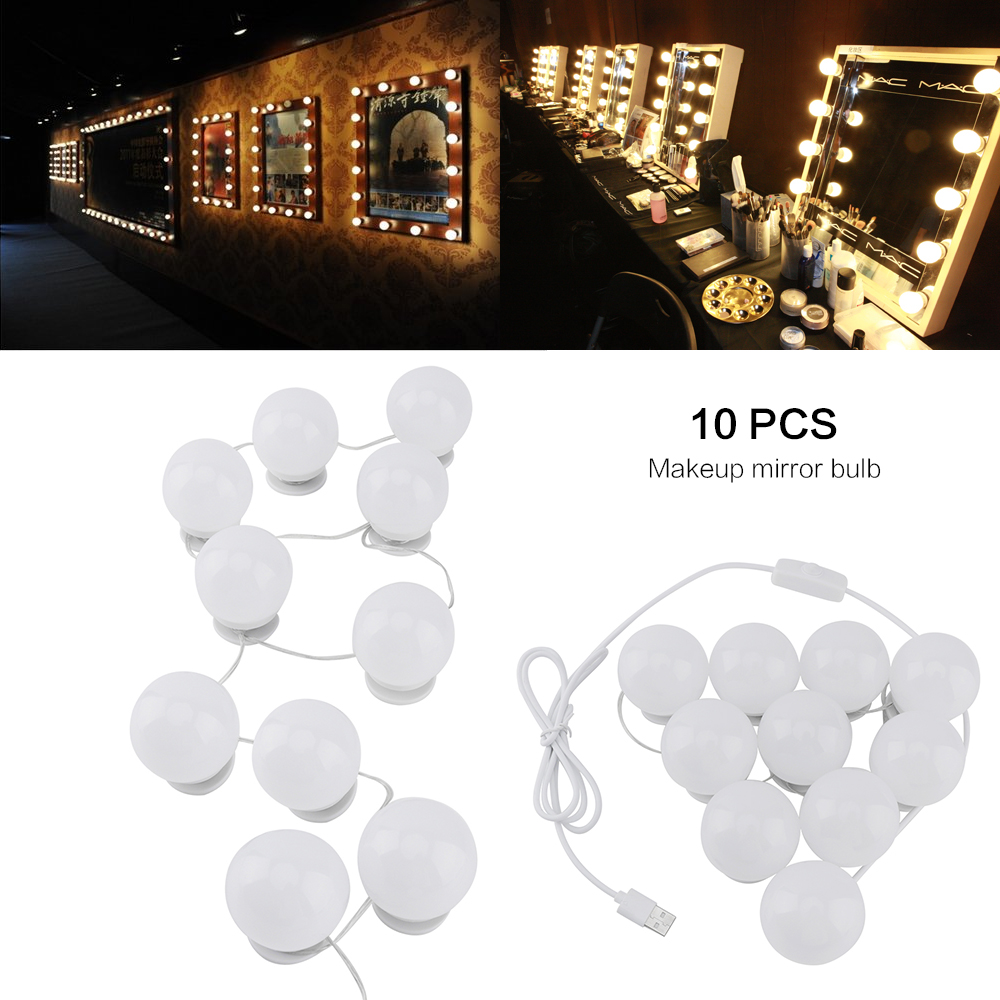Dimmable Vanity Lights 10 LED Bulb Kit USB Makeup Mirror Light Bathroom Vanity Lighting Fixture Cosmetic Lamp for Dressing Table