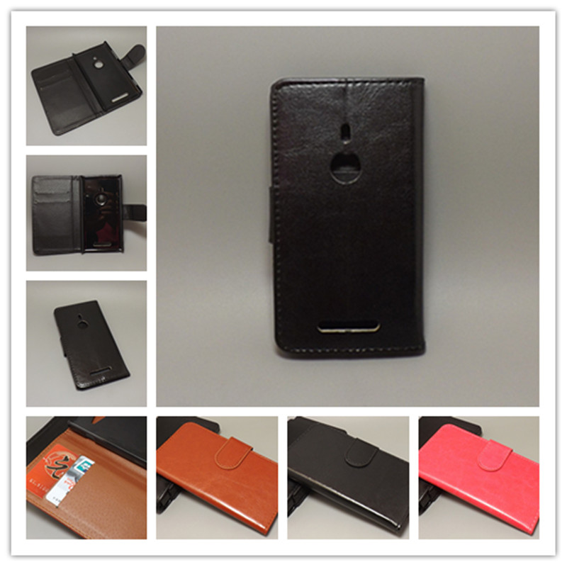 Crazy horse wallet case hold two Cards with 2 Card Holder and pouch slot For Nokia Lumia 925
