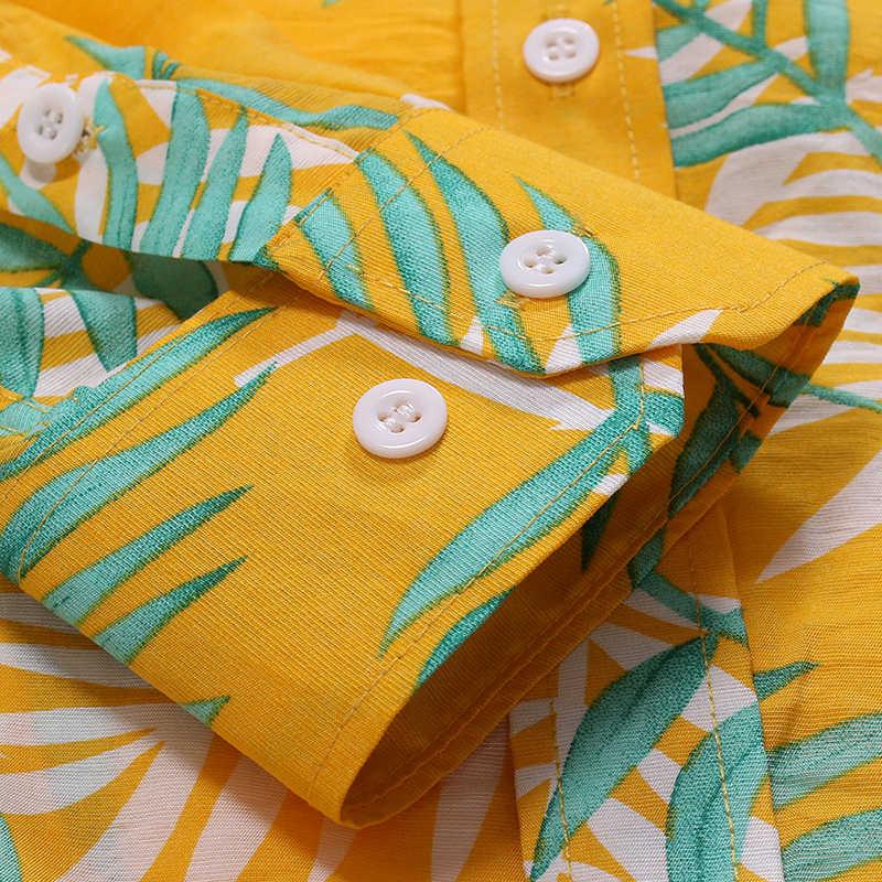 Желтая винтажная Мужская гавайская рубашка Повседневная рубашка с длинным рукавом на пуговицах рубашки с цветочным принтом хлопковая рубашка Пляжная рубашка Chemise 2XL