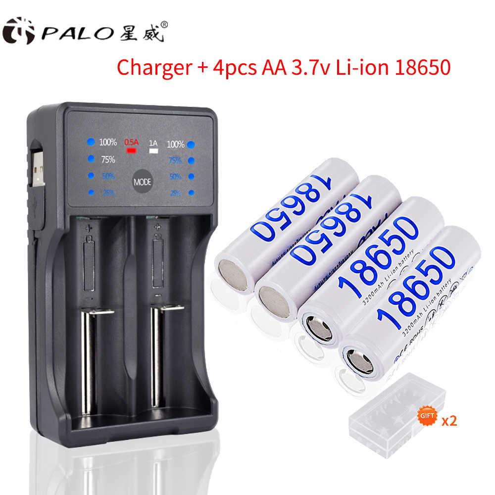 PALO 2 шт./4 шт. 3200 мАч 3,7 в 18650 Li-Ion Перезаряжаемые батареи + светодиодный смарт-Зарядное устройство для AA AAA 18650 14500 16350 светодиодный фонарик