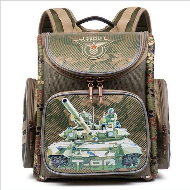 Ранец детский ортопедический Mochila Infantil мальчиков военная тема Отпечатано Школьные сумки мультфильм шаблон Водонепроницаемый основной Bookbag
