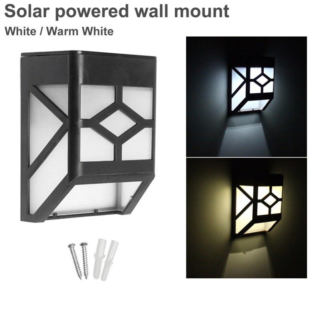 New 2pc Solar White Wall Led Light Stainless Steel Garden Outdoor Mountable Lamp