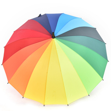 Women Rain Umbrella Top Quality Long Handle Big Rainbow Walking Stick Cane Anti-UV Sunny Golf Windproof Parasol