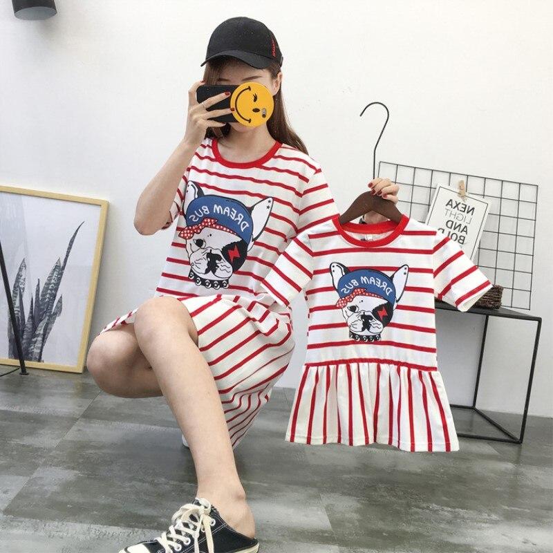 Mutter Tochter Kleid Pyjamas Bulldog Gestreiften Mama Und Mich Mum Dad Sohn Tochter Kleidung Shirts Kleider Familie Passenden Outfits Einfach Und Leicht Zu Handhaben