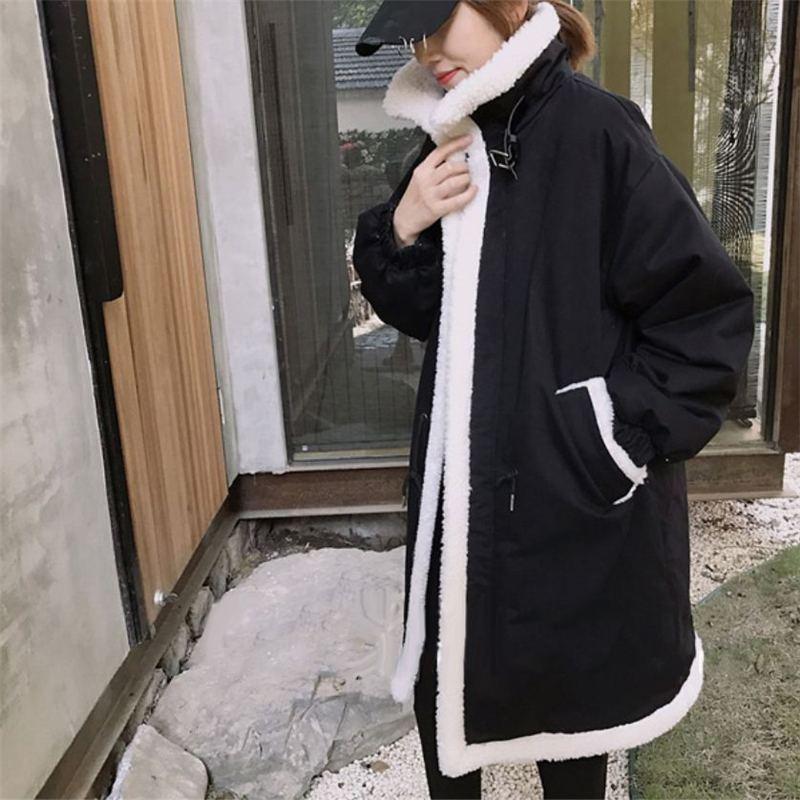 En Outwear Lâche Manteaux Chaud Laine Parkas Mode New vert Vers 2018 D'agneau C26 Femmes Épaississent Le Hiver Vestes Bas Noir Montant Long Col Coton Femelle T71qE6fw