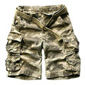 2017 Hot Selling Solid Color Knee Length Beach Shorts Men Summer Cargo Shorts For Men  (Belt Free)