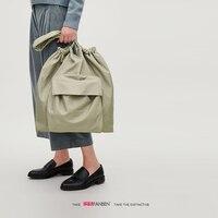 Large capacity Two pockets Drawstring design Shoulder bag Lightweight shopping bag GATHERED TOTE BAG