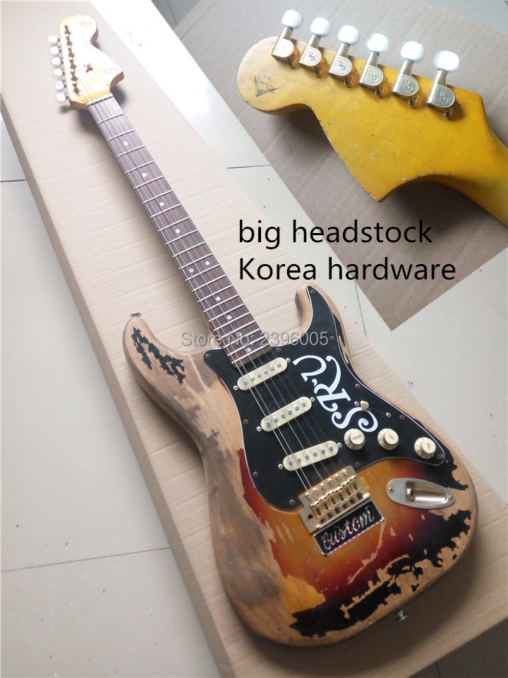 Custom exclusive st electric guitar ,handmade relic srv guitar.classical aged st guitar,deluxe headstock,korea gold hardware free shipping china custom new just the reversed headstock and matching the gold body color st electric guitar gold hardware 158